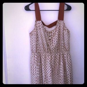 Brown and cream mid thigh dress